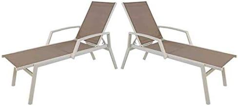 Edenjardi Pack 2 tumbonas reclinables de Exterior con Brazos, Tamaño: 195x65x50 cm, Aluminio Blanco y textilene taupé: Amazon.es: Jardín