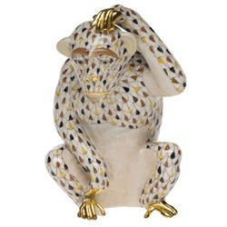 Herend Chimpanzee Scratching Mosaic Collection Multicolor Fishnet - Herend Mosaic Collection