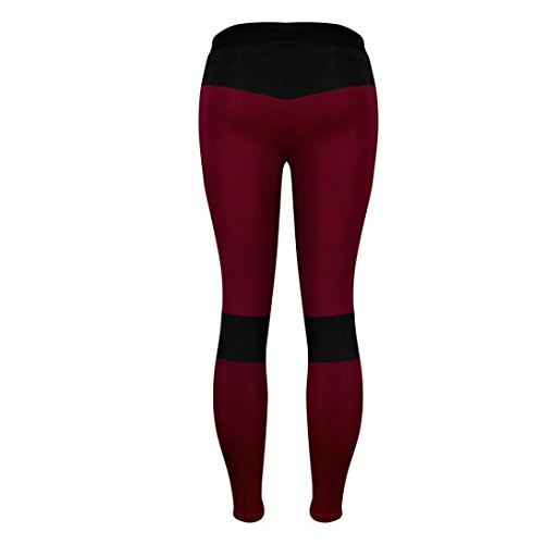 Lange Yoga Fitnesshose Leggings Yoga Pants Strech Sport Yoga TUDUZ Leggings Damen Rot Sporthose Gym 0FUqXp