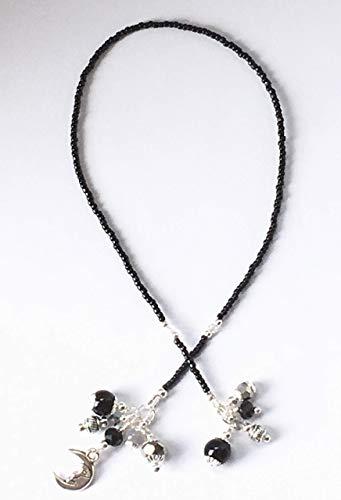 Handmade Beaded Bookmark~Black Silver & Grey Moon~Swarovski Crystal~Book Thong