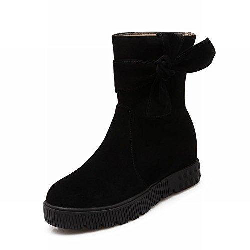Latasa Damesmode Suede Knopen Platform Mid-hak Enkelbandje Pull-on Slouch Boots, Casual Boots Zwart