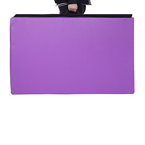 Cloud Mountain 4'x10'x2 Thick Folding Panel Gymnastics Tumbling Mat Gym Fitness Exercise, Pink&Purple