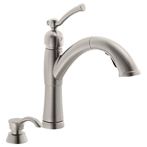 Delta Valdosta Single Handle Pull-Out Kitchen Faucet with Soap Dispenser ()