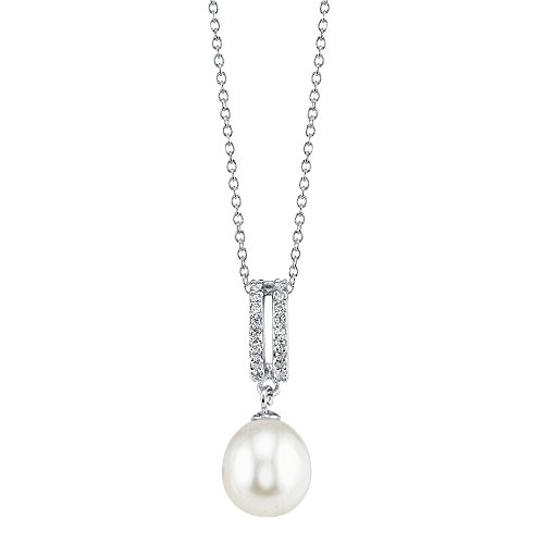 THE PEARL SOURCE 8-9mm Genuine White Freshwater Cultured Pearl Cubic Zirconia Blake Pendant Necklace for Women