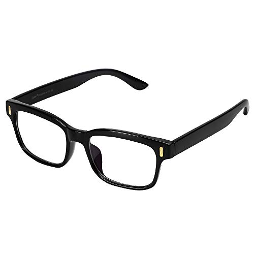 Cyxus Blue Light Blocking Computer Glasses for Anti Eye Strain UV Transparent Lens Black Frame Reading Glass Unisex (Men/Women) (8084T01, Classic ()