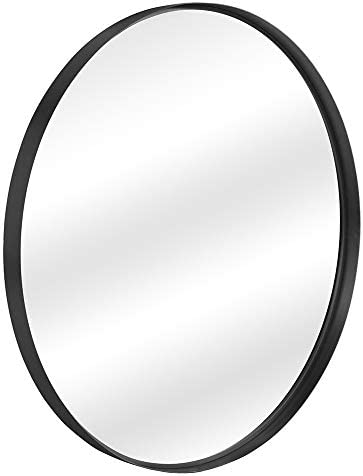 Contemporary Black Metal Round Mirror 30 – Large Hanging Clean Wall Mounted Metal Thin Frame Circle Mirrors for Washroom, Bathroom, Entryway, Living Room, Bedroom, Modern Vanity Mirror Wall Decor