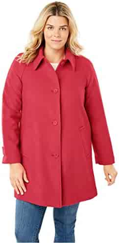 8ac54c415d8 Woman Within Plus Size Wool-Blend Classic A-Line Coat