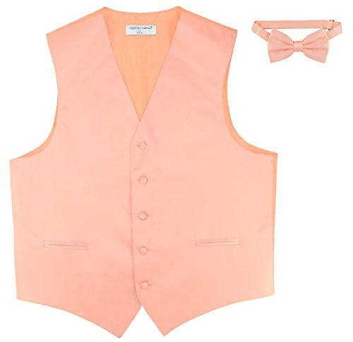 Men's Dress Vest & BowTie Solid PEACH Color Bow Tie Set for Suit or Tuxedo XS ()
