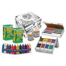 Dixon Ticonderoga Company Art Teacher Supply Kit, Markers/Pencils/Paint/Glue, White