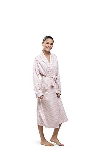 PJ.PIMA Soft Pima Cotton Smoking Collar Classic Women Robe (Romantic Rose/Soft Cream Stripes, Small Medium Tall)