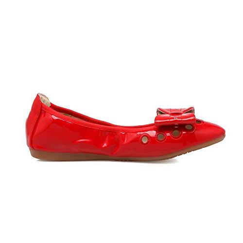 AalarDom Mujer Puntera en Punta Mini Tacón Sólido Sin cordones De salón con Lazos Rojo