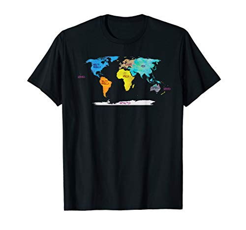 world map T-Shirt, watercolor names of all continents Art T-Shirt