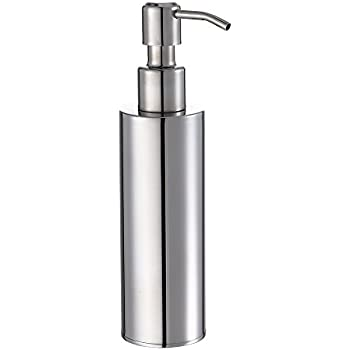 Besy premium stainless steel liquid soap lotion dispenser pump round refillable for Polished chrome bathroom countertop accessories