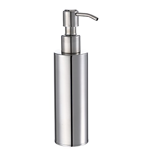 BESy Premium Stainless Steel Liquid Soap & Lotion Dispenser Pump, Round Refillable Soap Dispenser for Kitchen or Bathroom Countertop, Polished Chrome Finish (200 ml)