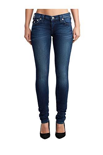 (True Religion Women's Stella Super Stretch Skinny Jeans w/Flap in Midnight Bloom (29))
