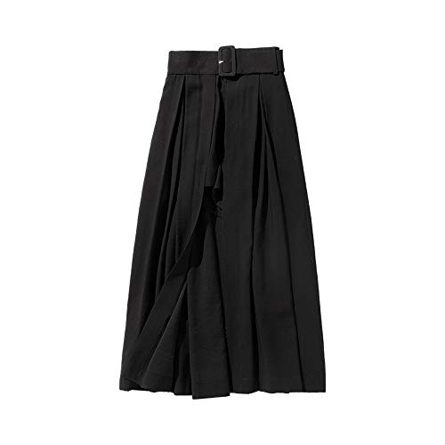 Dabuwawa Women Summer New Irregular Long Skirts High Waist A-Line Culottes Skirts (Black,L) from Dabuwawa