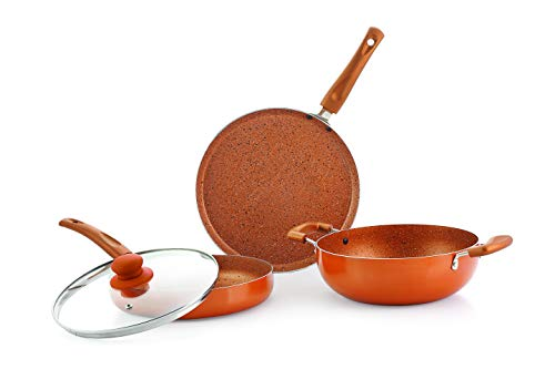 Nirlon Ultimate 4-Piece Aluminium Non Stick Dishwasher Safe Induction Cookware Gift Set with Glass Lid, Bronze