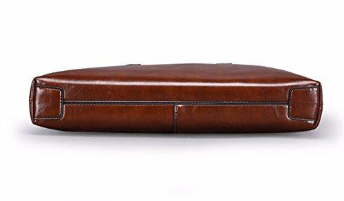de de Bag los Surnoy cuero moda 12 bolso resistente desgaste Shoulder Pendiente horizontal de Verde hombres pulgadas Brown al 5wHwq1I