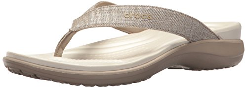 Capri Women Crocs (Crocs Women's Long Sleeve Classic-Fit Board Shirt Flip-Flop, Cobblestone, 8 M US)