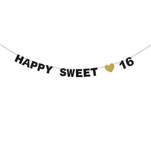 Happy Sweet 16th Birthday Banner - Black Glitter with Heart Décor - Adult Ceremony Milestone Anniversary - Fabulous 16 丨 Sixteen Years Old Birthday Party Decorations ()