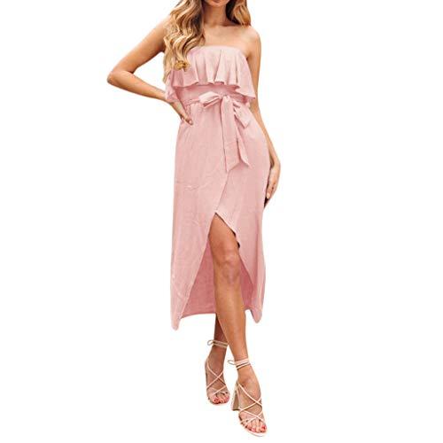 UROSA Midi Dress Women's Halter Ruffled Wrapped Braided Belt Dress 2019 Pink
