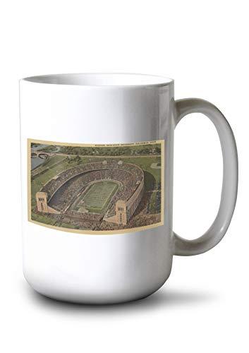 Lantern Press Columbus, Ohio - Ohio State University Stadium from Air - Vintage Halftone (15oz White Ceramic ()