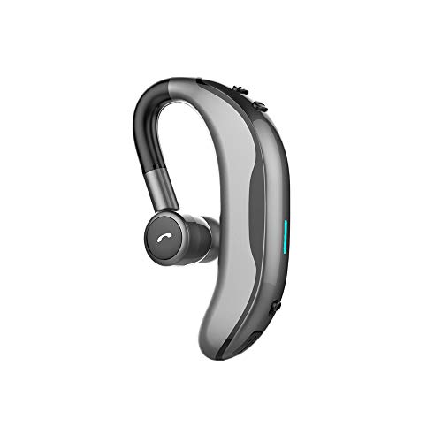 Anskp Single Ear Bluetooth Headset V4.1, Wireless HandsFree Bluetooth Earpiece with Microphone Wireless Earbud for Office Business Trip Driving, Support iPhone and Android Cellphones (Gray) ()