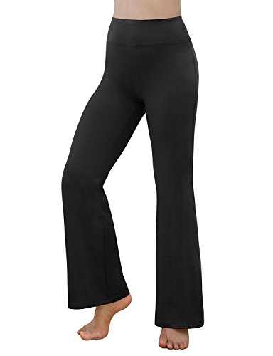 REETOYO Women's Power Flex Tummy Control Workout Yoga Boot Cut Flares Pants with Inner Pocket, Black, Large