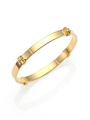 Tory Burch Logo Station Bangle Bracelet - Gold