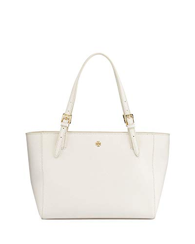 Tory Burch Emerson Large Buckle Tote Saffiano Leather Handbag 49125 (New Ivory) ()