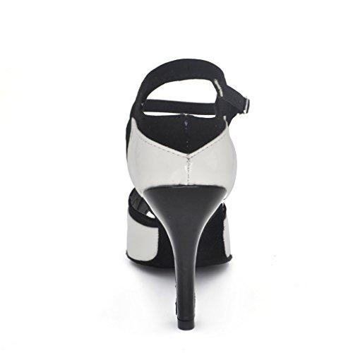 Misu Women's Peep toe Sandals Latin Salsa Tango Practice Ballroom Dance Shoes with 3.9