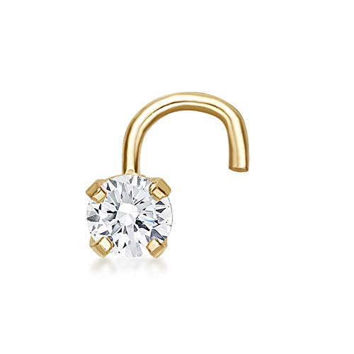 Lavari - 14K Yellow Gold 2.7mm .07 Carat Genuine Diamond Nose Ring Curve Stud Twist Screw 22 Gauge