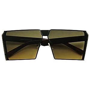 Black Metal Square Rectangular Geometric Flat Thick Flat Top Mod Sunglasses - Unisex
