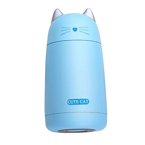 Dreamyth- 330ML Mini Vacuum Mug Cute Cat Kid Thermos Stainless Steel Hot Water Bottle Travel Cup (Blue) ()
