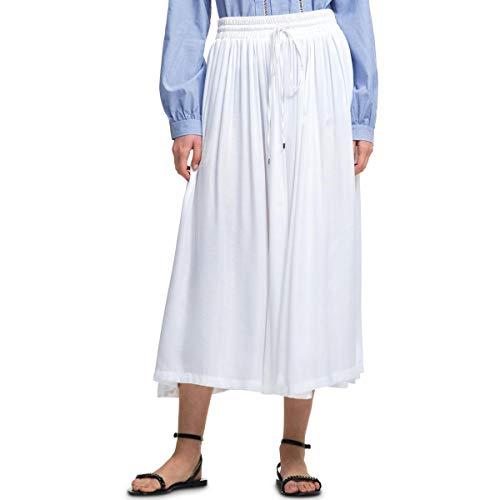 - DKNY Womens Ruffled Pull On Midi Skirt White S