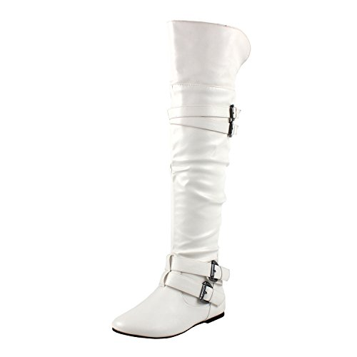 White Knee Boots (West Blvd Kinshasav2.0 Riding Boots, White Pu, 8.5)