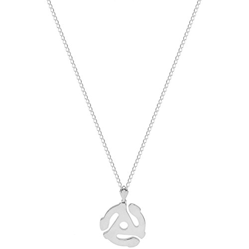 45 Record Adapter Necklace (100% Nickel Free 45 RPM Record Adapter Spindle Replica Pendant 18