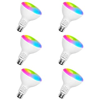 Smart Light Bulbs, Aoycocr BR30 Dimmable LED Light Bulbs, 720 Lumen, Tunable White 2700K - 9000K,9 (80W Equivalent), Works with Alexa, Google Assistant, No Hub Required, Wi-Fi, E26 Base, 6 Pack