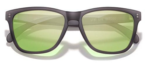 Sunski Classics Polarized Sunglasses for Men and Women, Headlands Black, Lime Lens