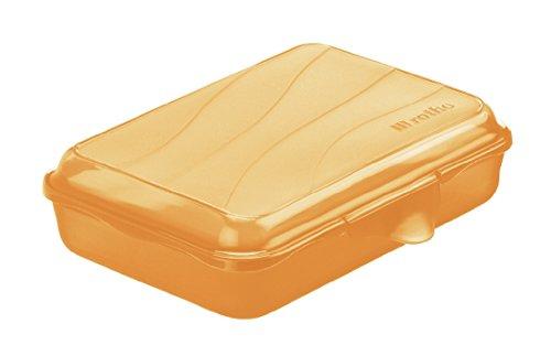 Rotho 1710802217 Funbox Vesperdose Brotbox, BPA und schadstofffrei, hergestellt in der Schweiz, circa 16 x 11 x 4 cm (LxBxH), orange