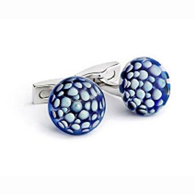 Daniel Dolce Men's Handmade Lamp Work Glass Cufflink, Blue, One Size by Daniel Dolce
