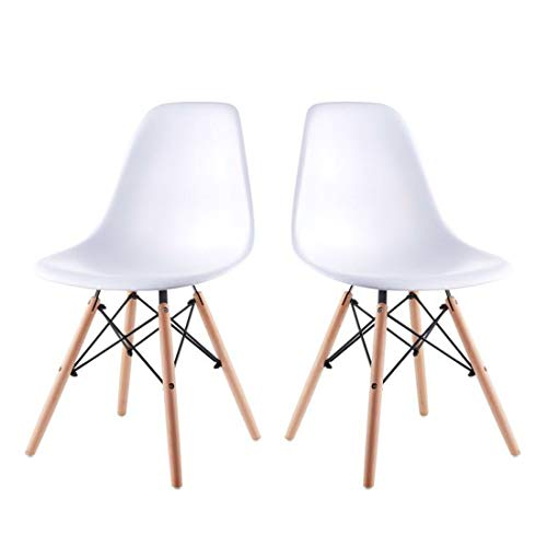 Cheap Artwell Eames Chairs Set of 2 Mid Century Modern White Dining Chair Side Chair Plastic Armless Chair with Beech Wood Legs Easy Assemble for Dining Room Living Room Bedroom Kitchen