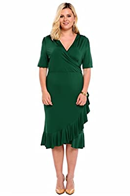 Meaneor Women Whimsy Wrap Flounce High-Low V Neck 3/4 Sleeves Plus Size Dress