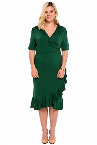 Meaneor Women Whimsy Wrap Flounce High-Low V Neck 3/4 Sleeves Plus ...