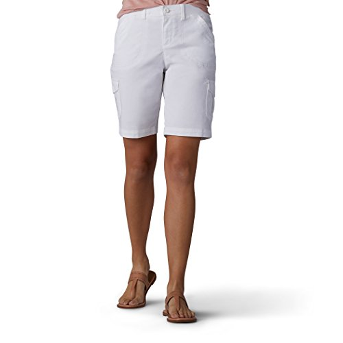 LEE Women's Relaxed Fit Diani Knit Waist Bermuda Short, White, 8 ()