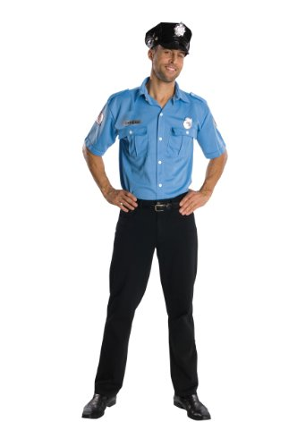 Adult Police Officer Shirt And Hat, Blue, X-Large