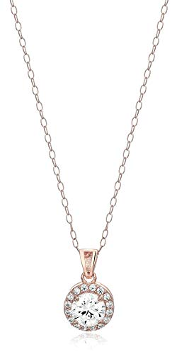 Amazon Essentials Rose Gold Plated Sterling Silver Cubic Zirconia Round Halo Pendant ()