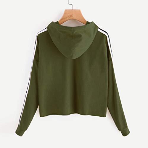 Raya Larga T Verde Hoodie Tops Top Crop Mujer Aimee7 Manga Hoodie Shirt qUHwI
