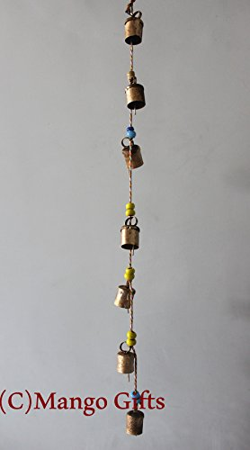 Decorative String of 7 Metal Vintage Indian Style Wall Hanging (Bell Strings)