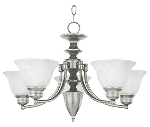 Five Light Satin Nickel Marble Glass Up Chandelier (Malibu Satin Nickel Chandelier)